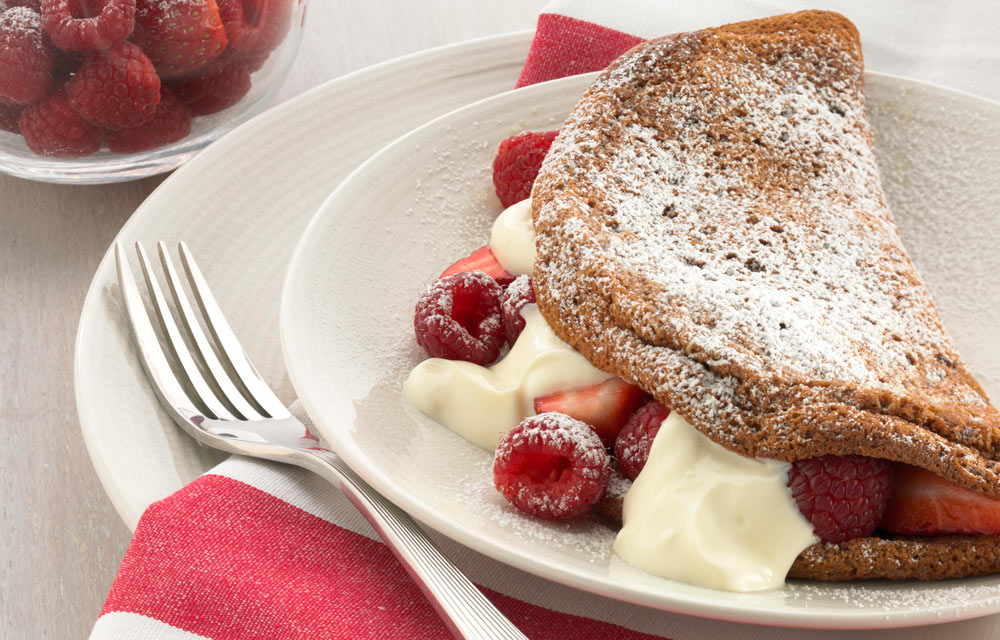 Chocolate Souffle Omelette With Berries And Yoghurt Better Homes And Gardens
