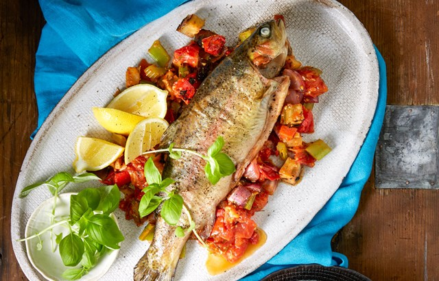 Cedar-planked rainbow trout with grilled caponata