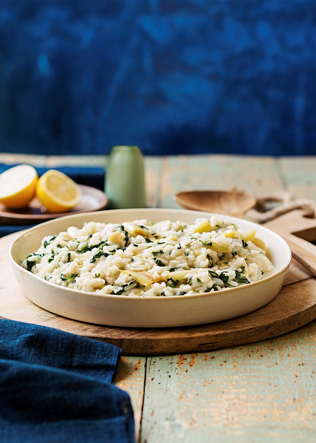 Risotto with spinach and leek