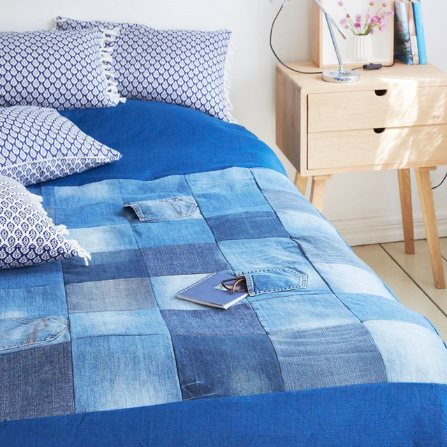 Denim bed spread