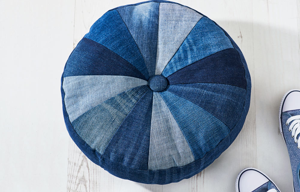 how to make an upcycled denim pouf better homes and gardens. Black Bedroom Furniture Sets. Home Design Ideas