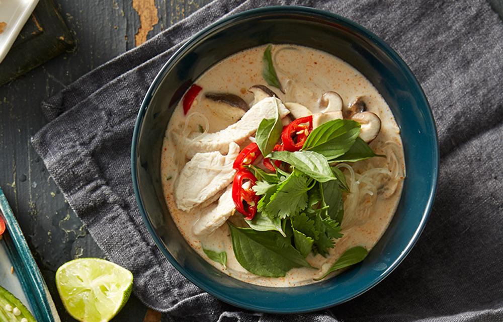 Thai chicken, coconut and noodle soup (tom kha gai ...