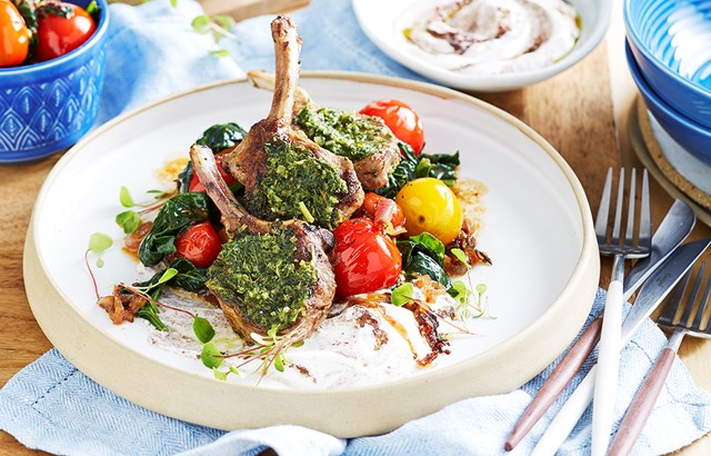 Grilled lamb cutlets with preserved lemon and mint