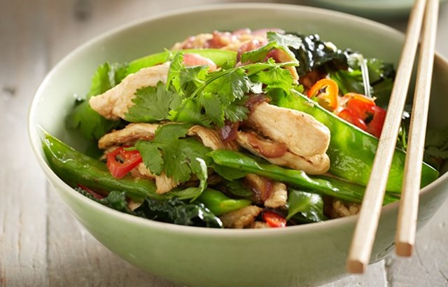 Spicy chicken and snow pea stir-fry