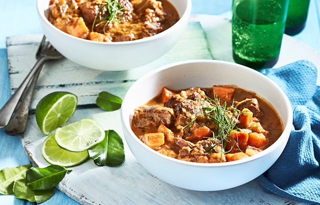 Beef stew with sweet potato, coconut and ginger