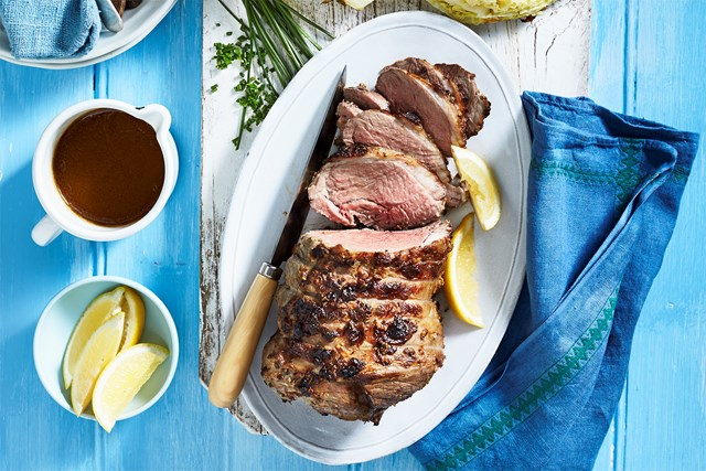 Fire-roasted lamb and cabbage with burnt honey olive oil gravy