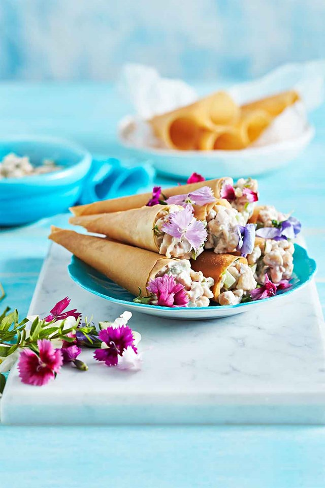 Crisp wafer cones with chicken and walnut salad
