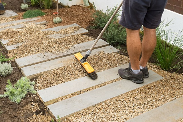 Backyard Project Timber And Gravel Garden Path Better Homes And