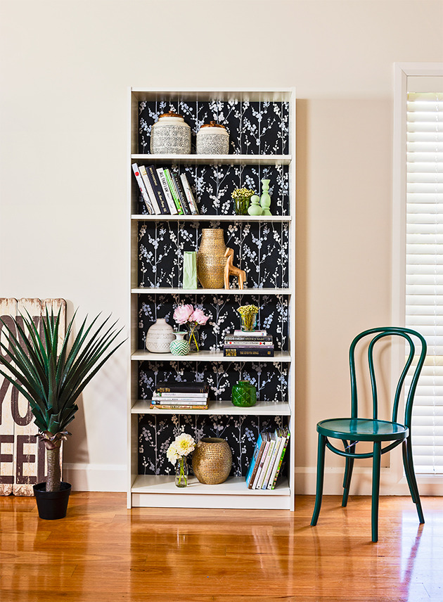 Revamp Your Bookcase With Wallpaper Diy Gardening