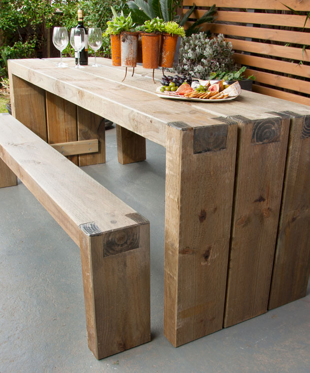 How to create an outdoor table and benches diy gardening craft recipes renovating for Diy garden table designs