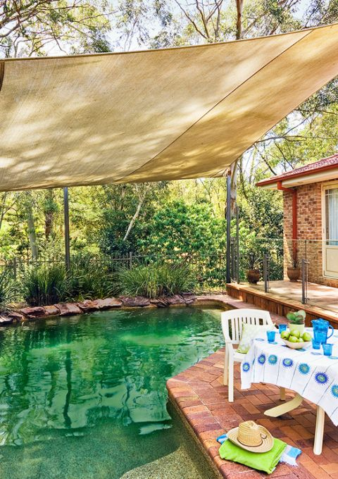 How to make a shade sail better homes gardens for Better homes and gardens swimming pools