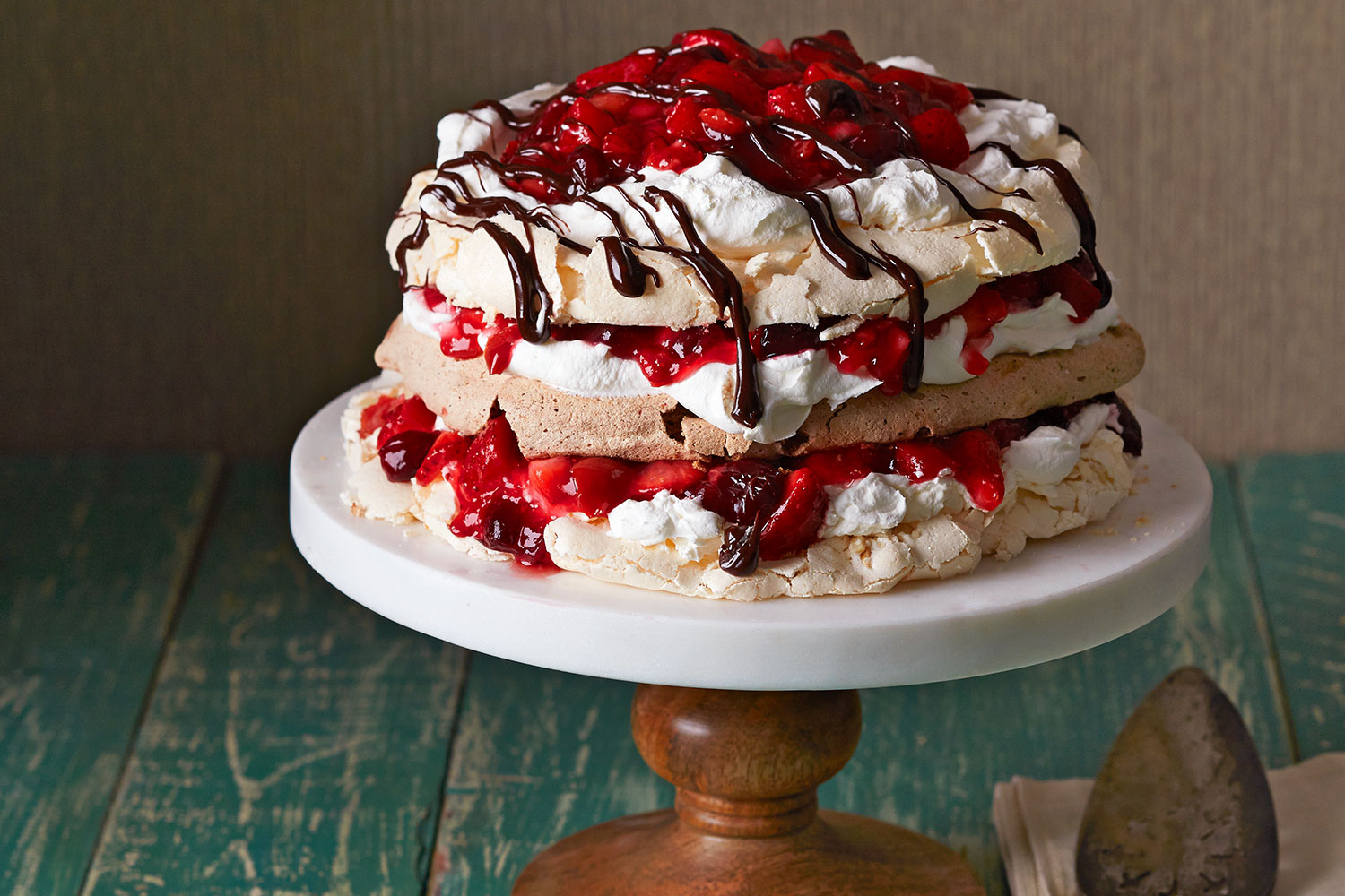 Triple Layer Pavlova With Cherry Berry Sauce Recipe