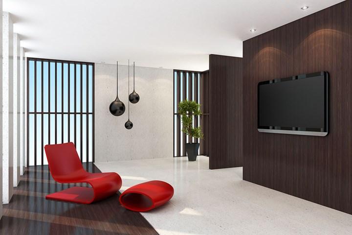 sol en marbre chaise rouge placage de bois