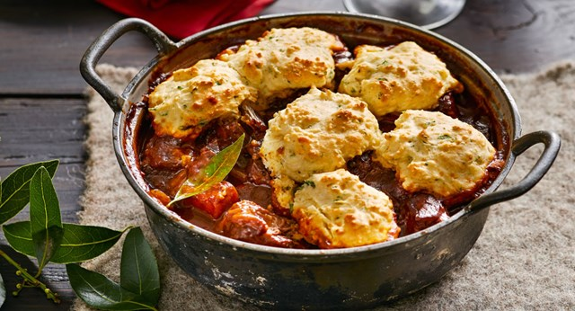 Red wine and peppercorn beef stew with parsley dumplings