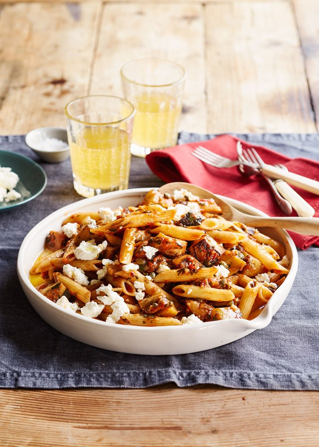 Penne with eggplant, tomato, balsamic and ricotta