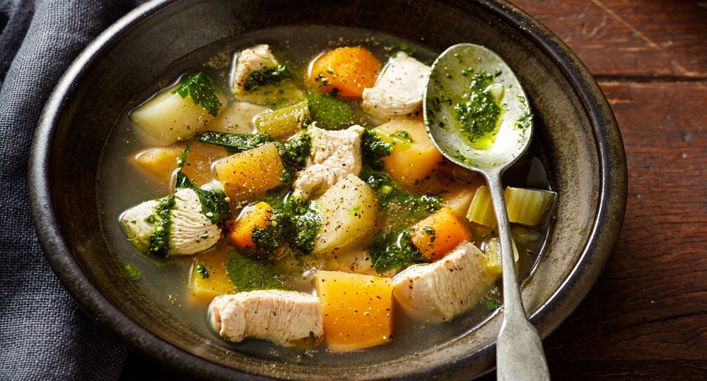 Chicken And Vegetable Soup With Spinach Pesto Better