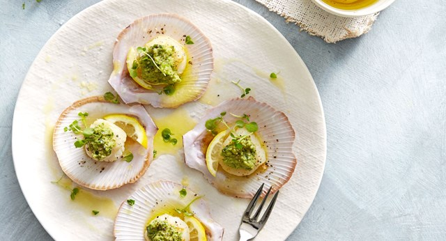 Seared scallops in shells with green olive tapenade
