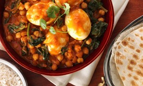 Mild Egg Korma with Chickpeas and Spinach