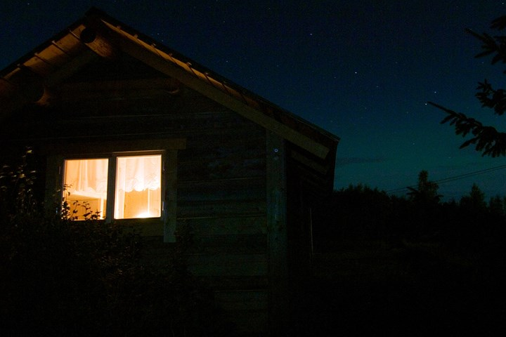 night house with lights on
