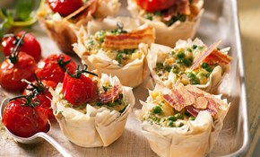 Karen Martini's little filo tarts with goat's cheese, peas and crispy pancetta