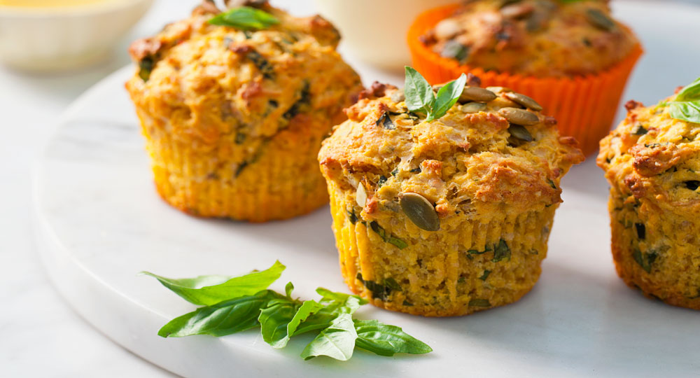 Roasted Pumpkin Basil And Parmesan Muffins Better Homes And Gardens