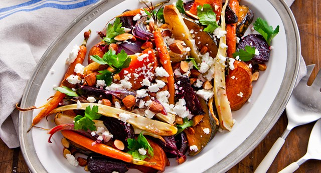 Roasted winter vegetables with feta and smoked almonds