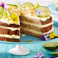 Banana cake with zesty lime cream cheese frosting