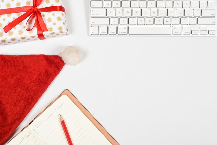 christmas keyboard and note book