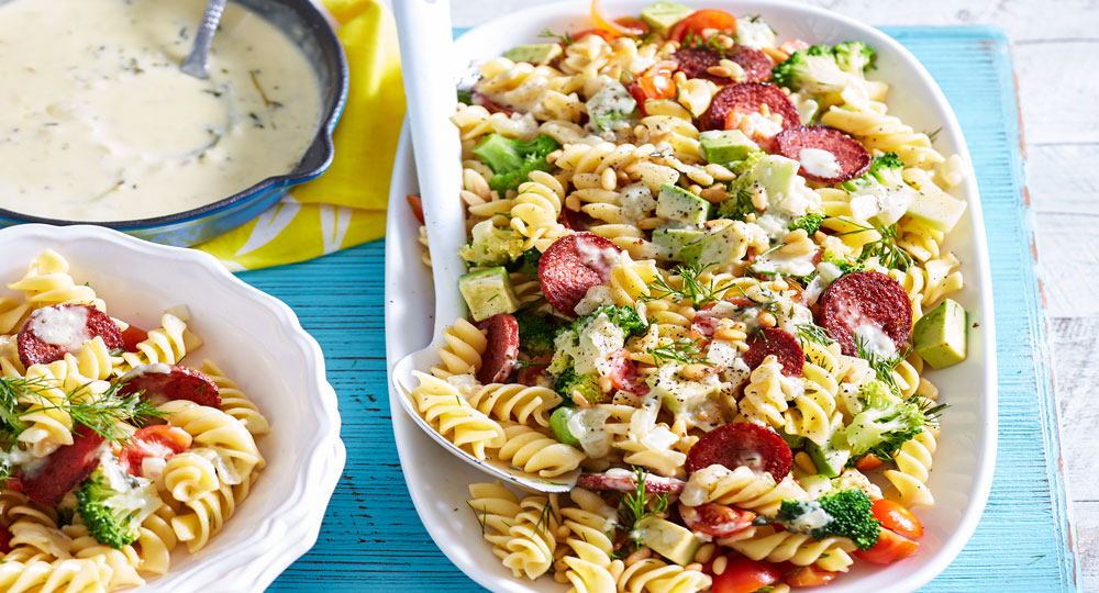 Chilled pasta salad with crisp mettwurst and parmesan cream - Better ...
