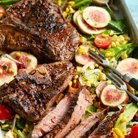 Spice-rubbed steak and salad