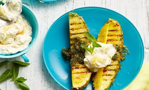 Chargrilled pineapple with mint sugar and summer cheese