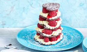 Chocolate and raspberry shortbread heart stack