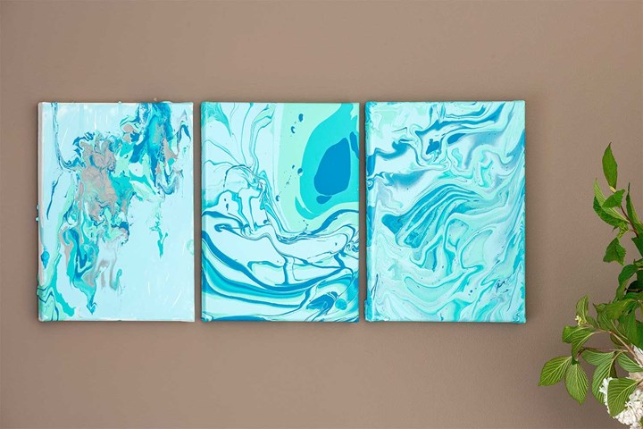 Pour painting triptych