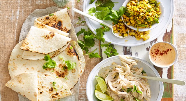 Barbecue chicken tortillas with grilled corn salsa