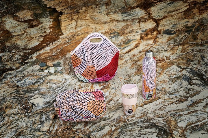 Adairs bag, cup, bottle with Indigenous art patterns