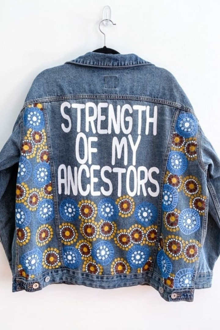 denim jacket that says strength of my ancestors
