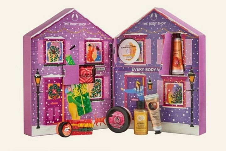 body shop purple calendar with products