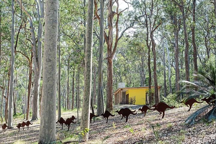 Kangaroo sculptures at Philip Cox's home Thubbul