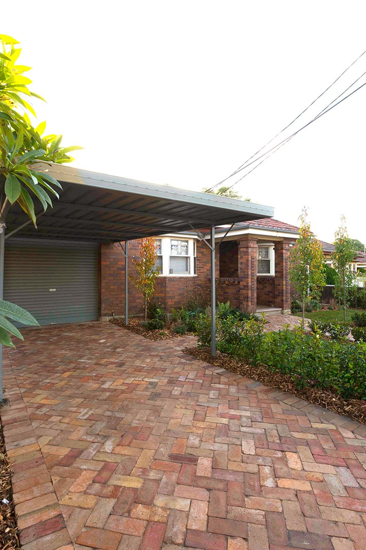 Newly installed recycled brick driveway