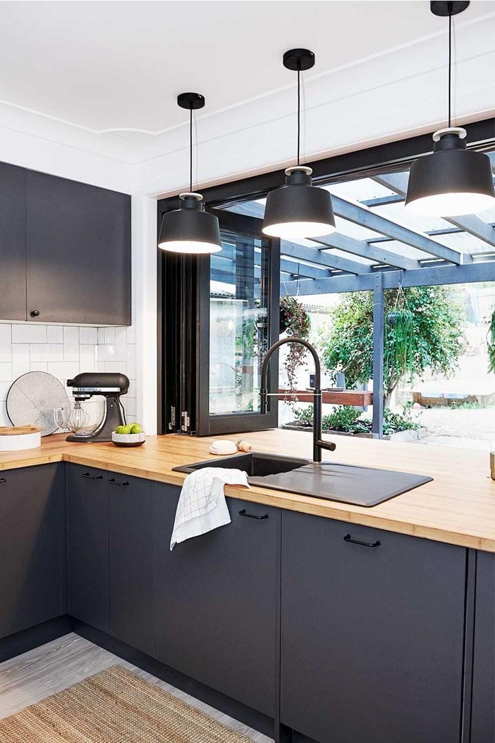 Flat pack kitchen renovation with servery window