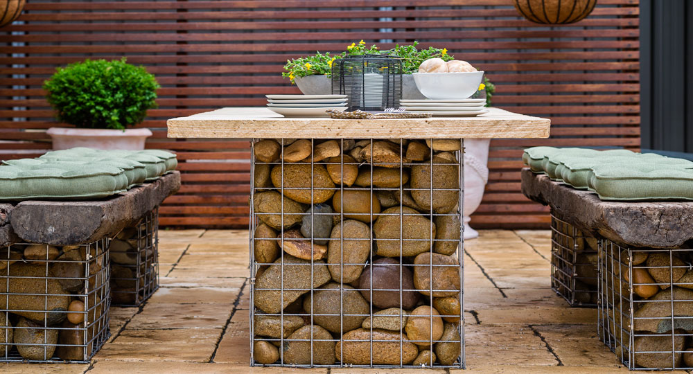 Do It Yourself Home Decorating Ideas: How To Build A Gabion Table Setting