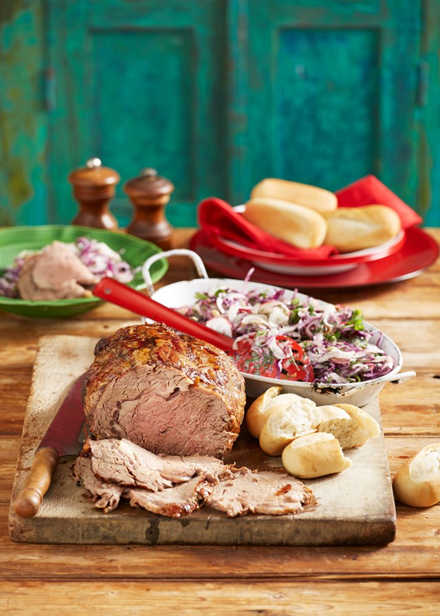 Entertainer's rotisserie beef with fennel slaw