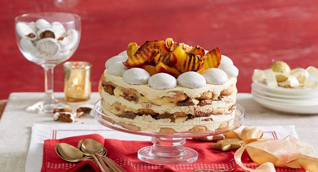 Tipsy trifle cake with grilled peaches and gingerbread