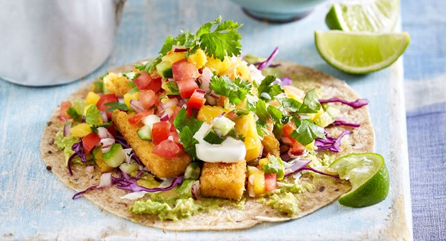 Crispy fish tacos with smokey raspberry barbecue sauce and mango salsa