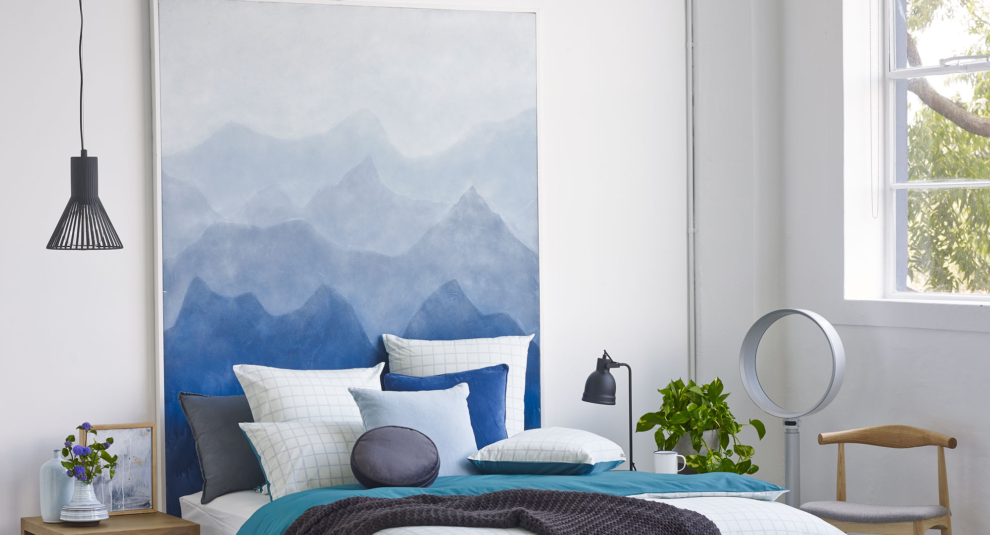 Bedroom ideas make your own mountainous bedhead mural for Create your own mural