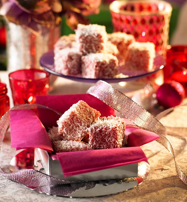Raspberry and strawberry lamingtons