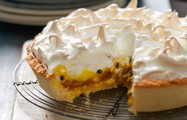 Passionfruit curd and coconut tart with meringue top