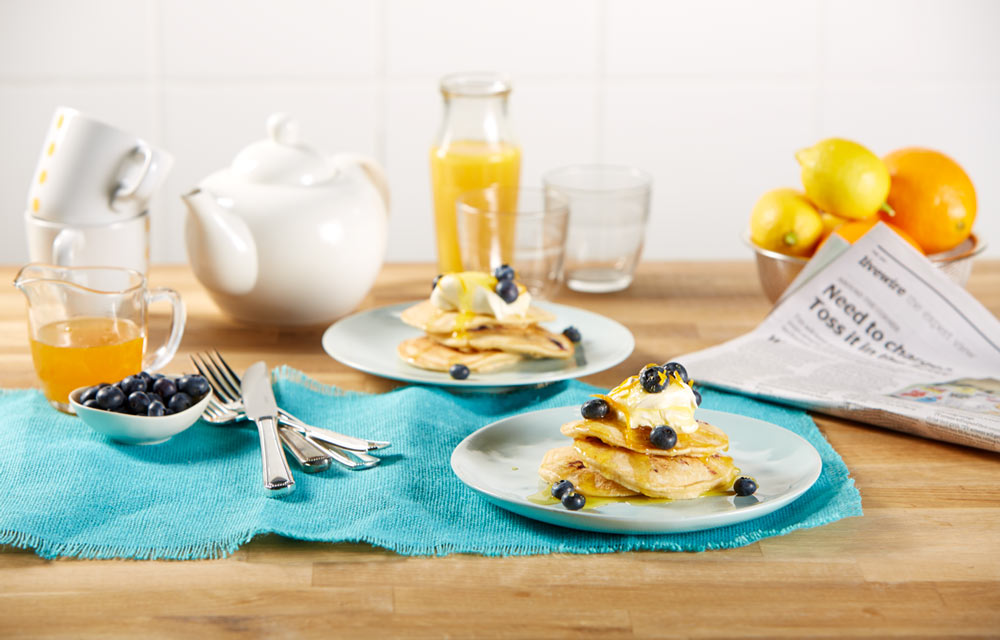 Coconut blueberry pancakes with cr me fraiche orange - Better homes and gardens pancake recipe ...