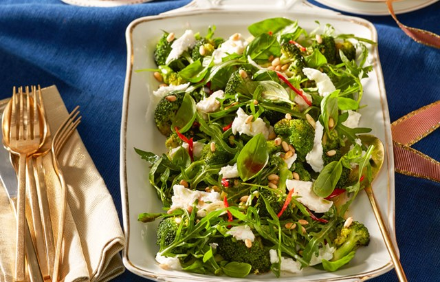 Grilled broccoli, rocket, mozzarella and basil salad